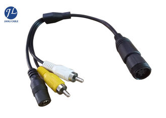 6 Pin CCTV Security Backup Camera Cable To RCA DC Power Cable For Truck / Bus